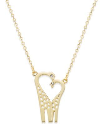 kate spade new york 12k Gold-Plated Crystal Double Giraffe Pendant Necklace