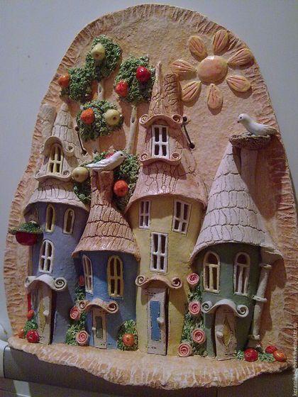Город ручной работы. Ярмарка Мастеров - ручная работа. Купить Панно-летний городок.. Handmade. Кремовый, панно на стену, шамот