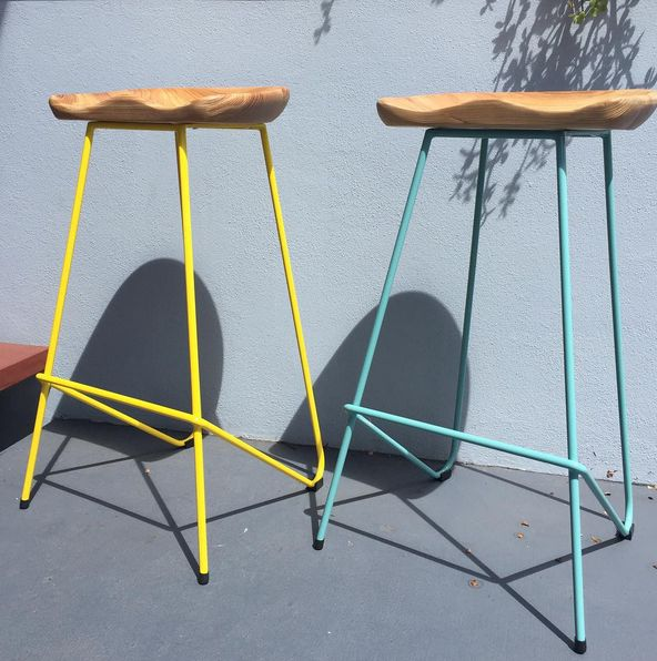 Wire Tractor stools with ash seat - Available with white, yellow or blue base.