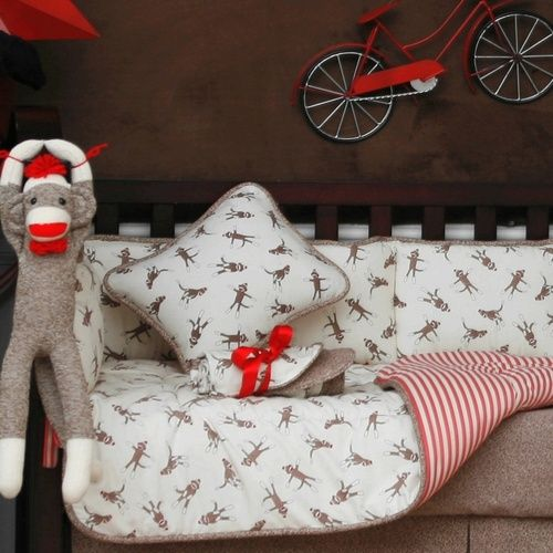 Sock Monkey Decorative Pillow | Decorative Nursery Pillow in Sock Monkey | Carousel Designs