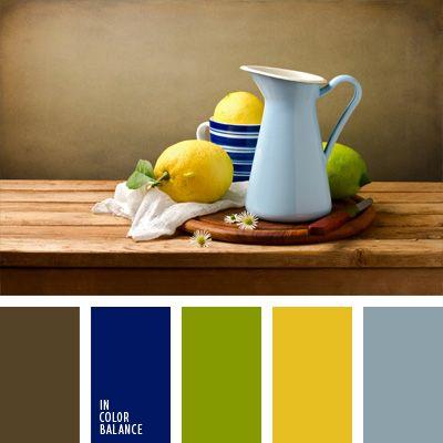 amarillo, amarillo limón, azul aciano pálido, azul oscuro, celeste, color verde limón, elección del color, marrón, marrón grisáceo, paleta de colores para decorar, paleta de colores para usar en la reforma, selección de colores para hacer la reforma de un piso, verde.