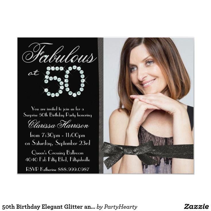 50th Birthday Elegant Glitter and Diamonds Card