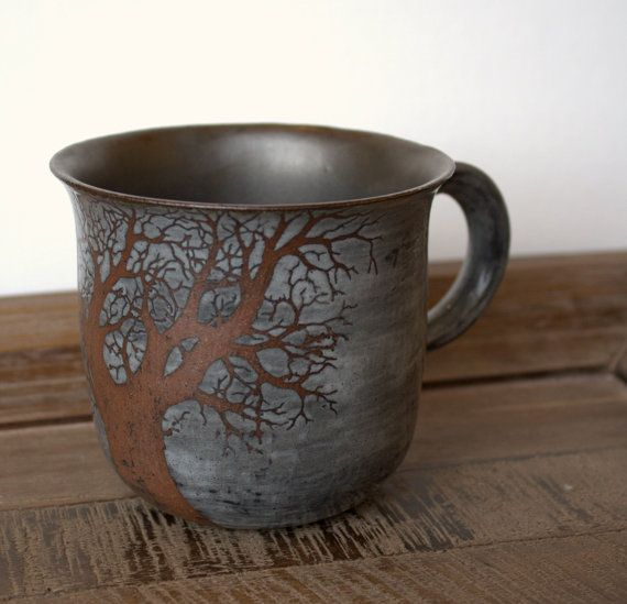 Made to Order  Rustic Sgraffito One Tree Mug with by TheMuddyRaven, $39.00