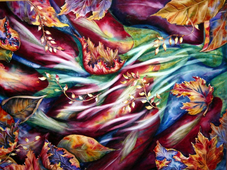 I met this Kirkland Artist, LeSan Reidmann, about 10 years ago when a painting similar to this one caught my eye.  She said she was inspired when looking from a bridge into a stream where spawning salmon were swimming upstream. I love the symbolism, the autumn theme, the colors, everything. I almost bought it, but we had a to buy a new roof instead. Stupid roof.  10 years later, I still want it.