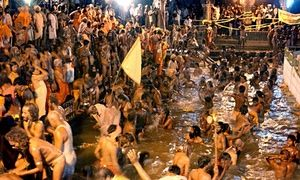 File photograph of a bathing festival on part of the Godavari river.