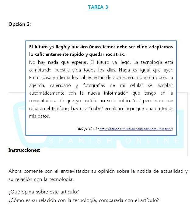 Cafespañol Spanish Online te prepara para el nuevo Dele B2. Aquí una práctica de la Tarea 3, opción 2. Aquí tienes una pequeña noticia de actualidad que debes presentar y comentar. En esta tarea, no tienes tiempo de preparación y debes usar un lenguaje informal y fluido.