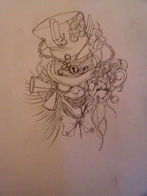 Steampunk Tattoo Designs | Tattoo Design mad hatter sketch | Flickr - Photo Sharing!