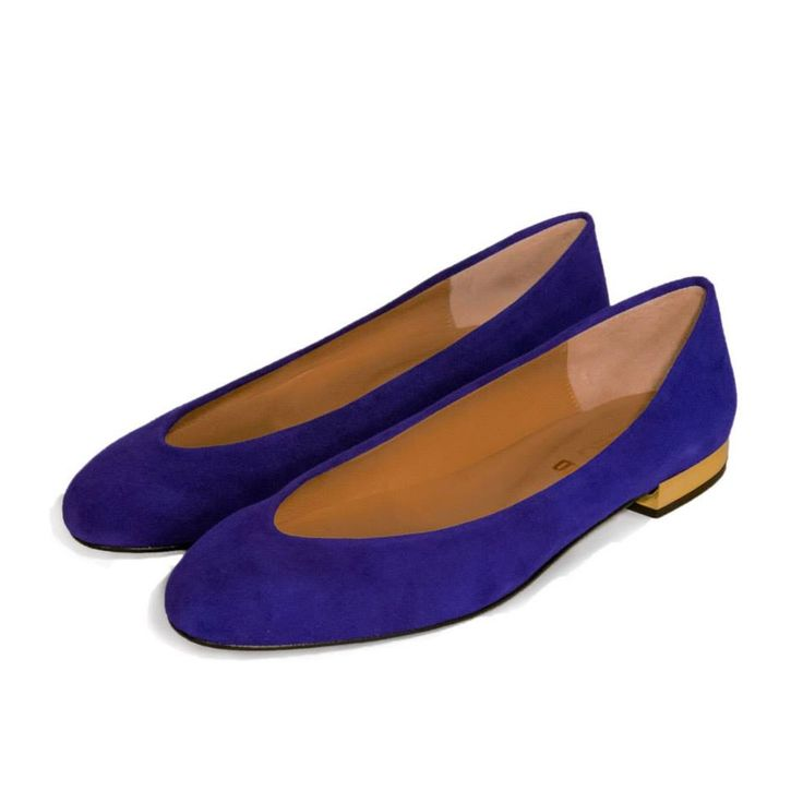 CLEO B classic 'Hip Hop' flats in a soft turquoise suede with gold heel detailing. #classic #collection #hiphop #style #pixel #shoe #indigo #gold #fashion #designer #london