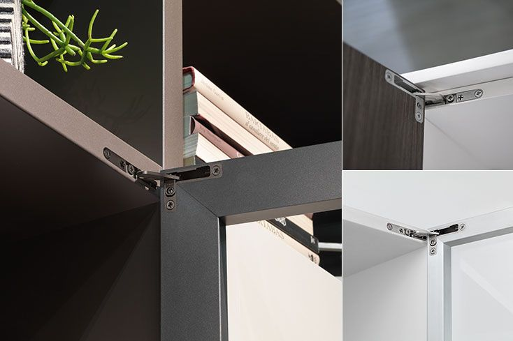 Air | Hinges to be recessed into the cabinet and into the door, innovative hinge Air, invisible furniture hinge, furniture hinges, design hinge, integrated soft-close mechanism, Push self-opening system