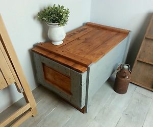 couchtisch coffee table Transportkiste shabby holz wood