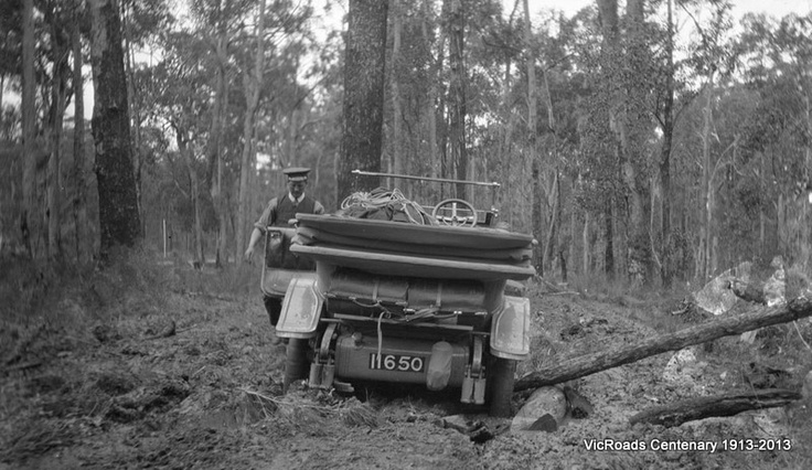 Country Road Board's car bogged between Hospital Creek and Orbost 1913. VicRoads Centenary 1913-2013.