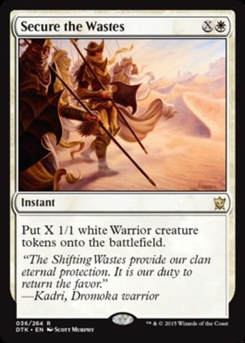 Secure the Wastes mtg Magic the Gathering Dragons of Tarkir white rare instant card warriors