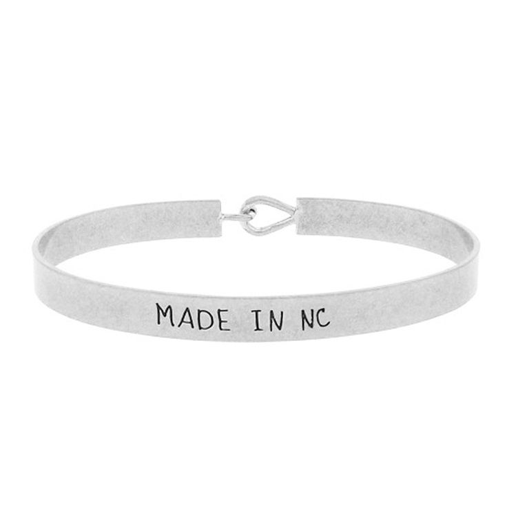 Map Of Us States In 1860%0A Made in NC  State Map Brass Bracelet