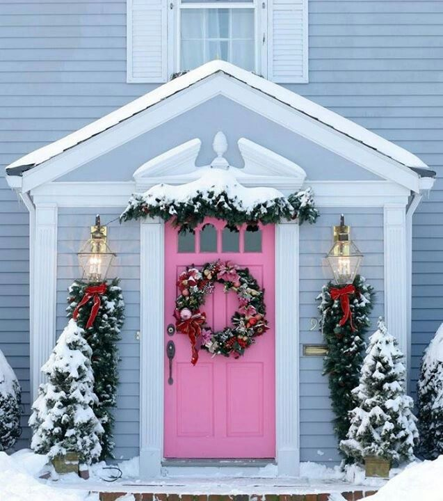 Image result for pink door christmas