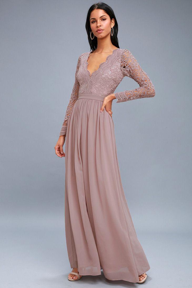 4f8d344739e Awaken My Love Dusty Lavender Long Sleeve Lace Maxi Dress in 2019 ...