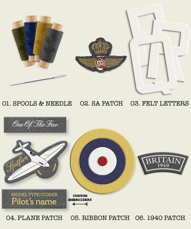 Spitfire Custom Kit  A kit to customize your Squadratlantica fleecejacket,    contains:  - 3 x spool of thread  - needle  - Squadratlantica wings  - 3 letters felt (8 cm height)  - Spitfire badge  - roundle badge  - England 1940 badge  £23
