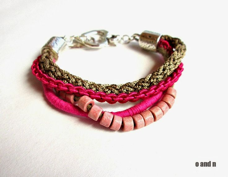 o & n craft supplies: Multi strand summer bracelet - pink and beige