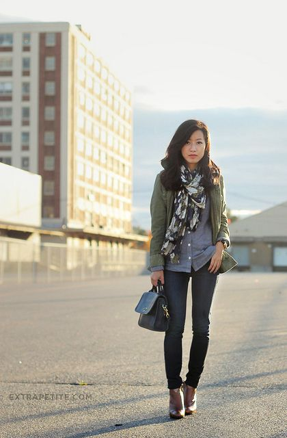 Green Military Jacket, Floral Scarf, Chambray Shirt, Black Coach Bag, Brown Booties#ExtraPetite