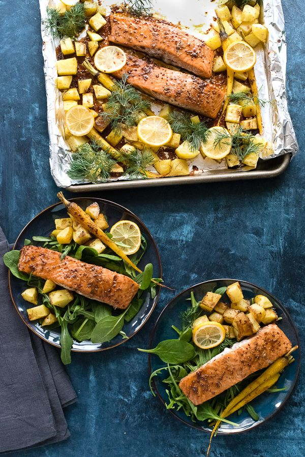 Sheet Pan Maple-Mustard Salmon with Roasted Carrots and Potatoes.