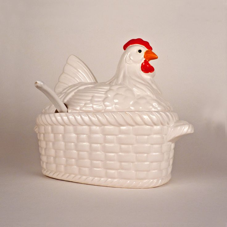Vintage Chicken Soup Tureen With Lid Ladle Ceramic Basket Bowl Serving Rooster Red Home Decor Kitchen Decor Collectible Under 25