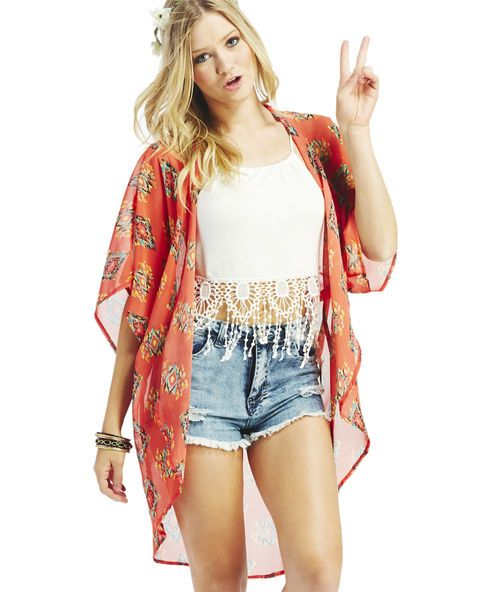 """<p>Lengthy and boho-chic, this sheer chiffon kimono has a draped fit, long duster high-low length and a cool multicolored ikat print all over. Kimono is unlined and has an open front.</p>  <p>Model is 5'9"""" and wears size small.</p>  <ul> <li>100% Polyester</li> <li>Machine Wash</li> <li>Imported</li> </ul>"""
