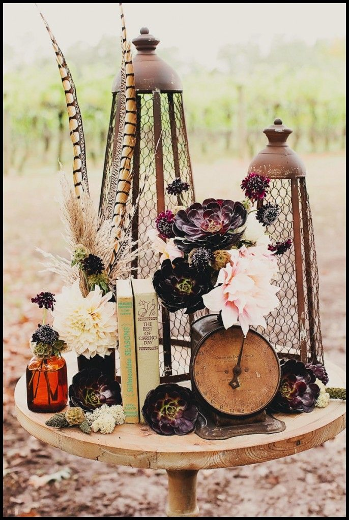 I love everything going on here-colors,textures,masculine and girly