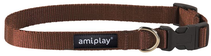 Adjustable collar with lock Basic. Brown
