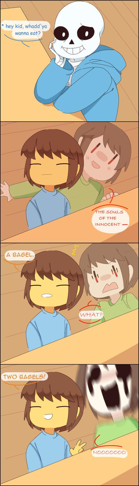 The child has eaten the bagel. He will never belong to us now. Chara and Frisk with Sans Undertale