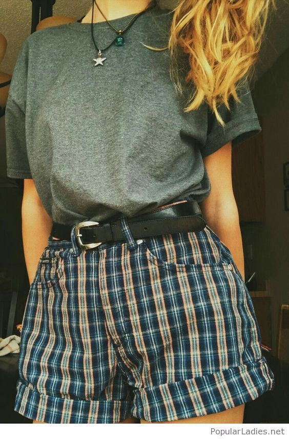 Simple grey t-shirt and plaid shorts