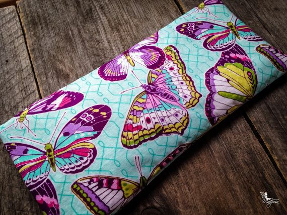 Yoga eye pillow - Butterflies - Lavender or camomile & organic flaxseeds relaxation meditation
