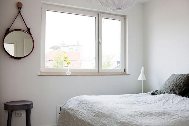 Malmö apartment via lamaisondannag: Cherries Blossoms, Mirror Mirror, Style Bedrooms, Mirror Hanging, Simple Bedrooms, Moodboard Bedrooms, White Bedrooms, Blossoms Blog, White Beds Linens