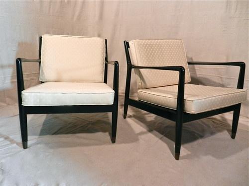Pair Vintage Mid Century Danish Lounge Chairs Folke Ohlsson By Dux Black  Lacquer