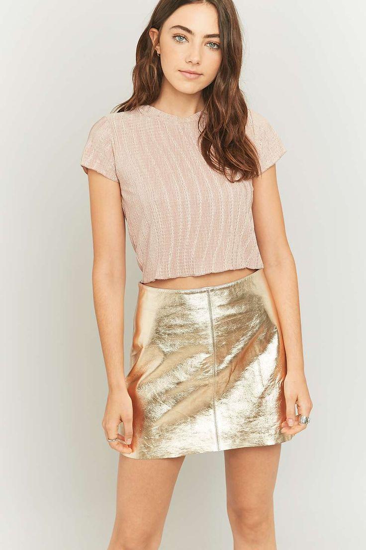 Shop: Light Before Dark Metallic Bronze Leather Pelmet Skirt