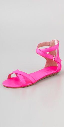 Rebecca Minkoff neon pink flat sandals, love, want, put them on my feet.