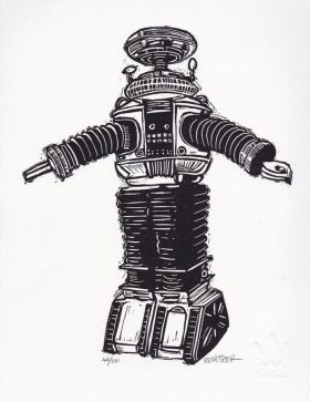 Robot II Linocut Eric Rewitzer