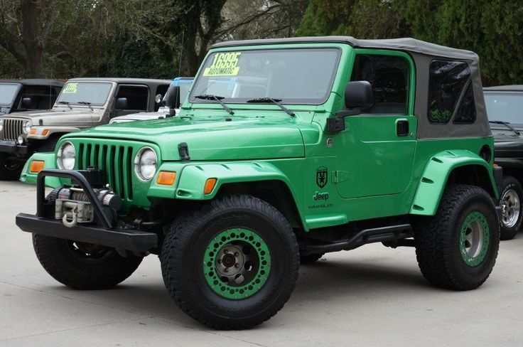 Electric Lime Green Jeep Wrangler Sport Only 89k Miles