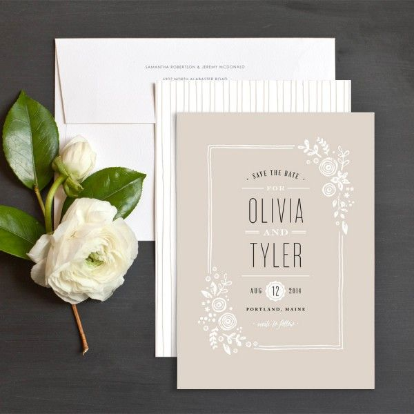 Block Print Floral Save The Date Cards by Jennifer Wick | Elli