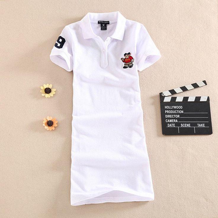 Elegant Cotton Polo Shirt Dress