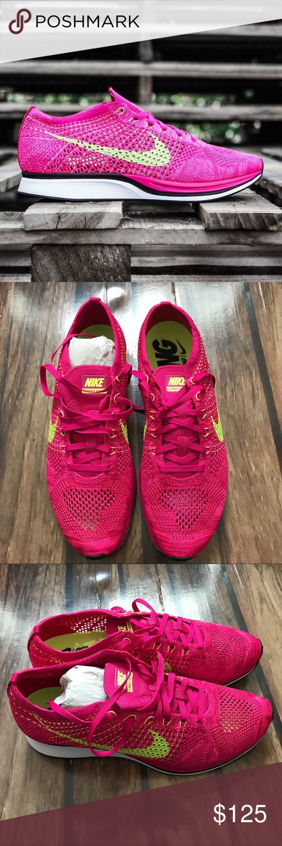 Nike Flyknit Racer Shoes Fire Berry / Volt Great training shoe male size 10.5 female 12, color way fire berry & volt Nike Shoes Sneakers