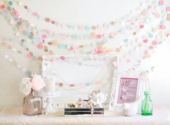 Pastel Colored Wedding 25' Garland, Wedding, Bridal Shower, Baby Shower, Nursery, Photo Prop, Photography