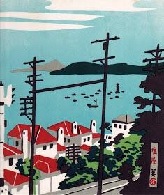 Awaji Island from Shioya, Kobe - woodblock print by Hide KAWANISHI, Japan 川西英「神戸百景 94 塩屋」