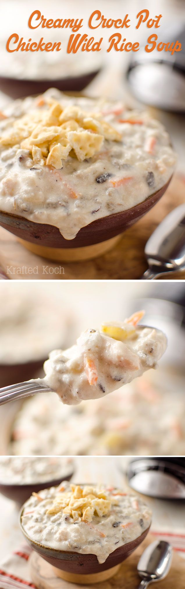 Creamy Crock Pot Chicken Wild Rice Soup - Krafted Koch - A creamy and decadent soup recipe you can throw in your slow cooker. NO canned soup.