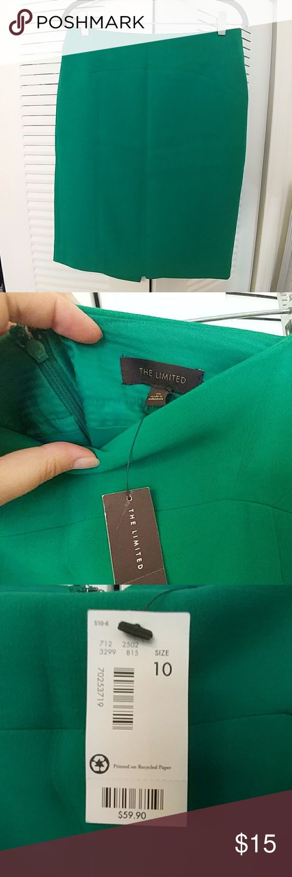 Emerald Green Pencil Skirt Brand new with tags, emerald green pencil skirt. Cute for work or whatever. The Limited Skirts Pencil