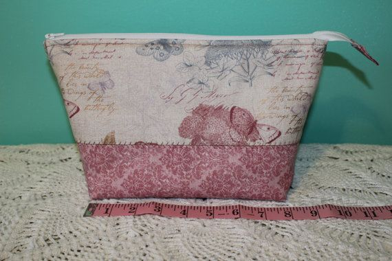 Flat Bottom Bag Lined Padded Butterfly Pink Print by KRaeDesign