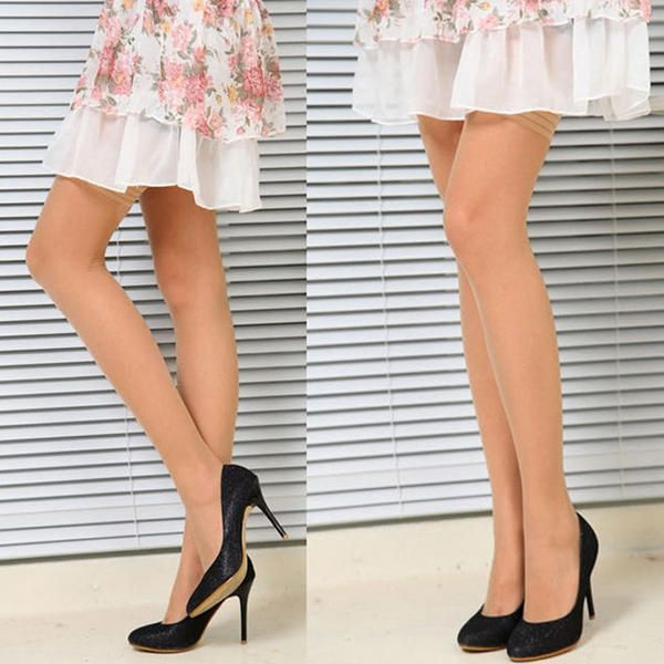 Womens Black Stripe Sexy Pure Color Above Knee Stockings Pantyhose at Banggood