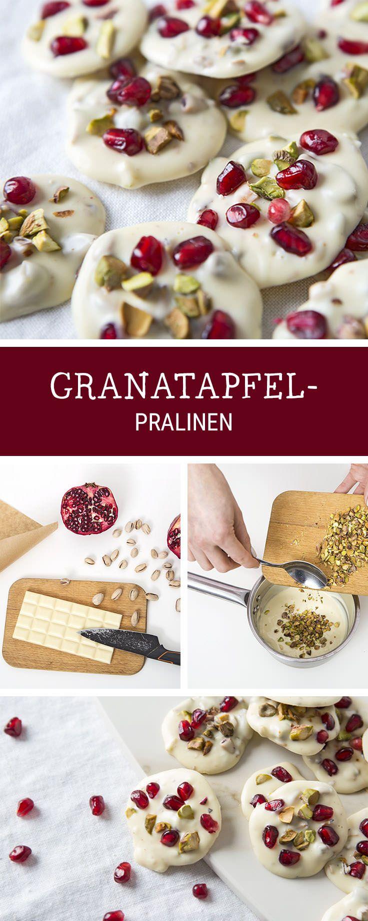 Süßes Rezept für Pralinen aus weißer Schokolade und Granatäpfeln / recipe for white chocolate pralines with pomegranate via DaWanda.com