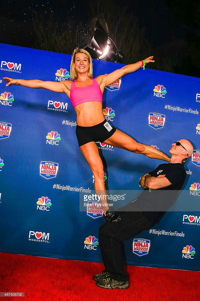 Competitors Jessie Graff and David Campbell attend the NBC's 'American Ninja Warrior' season 7 finale preview screening held at The Autry National Center on September 9, 2015 in Los Angeles, California.