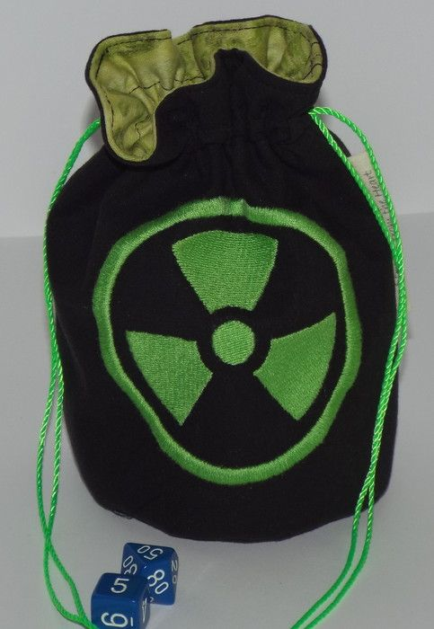 Green and black dice pouch with the radiation symbol on it. (It's the Hulk symbol)