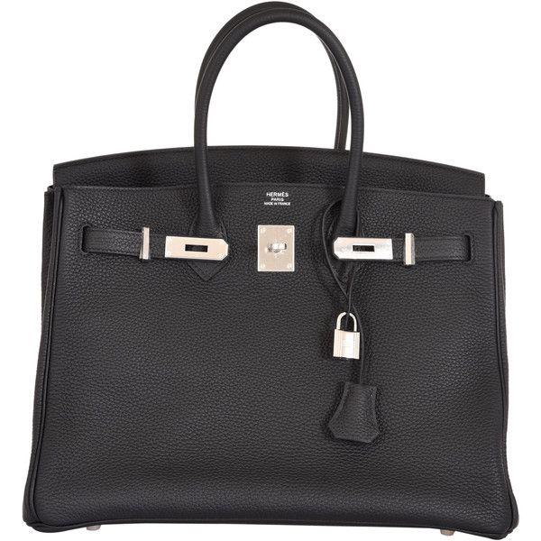 Pre-Owned Hermes Birkin Bag 35cm Black Togo Palladium Hardware (38,845 BAM) ❤ liked on Polyvore featuring bags, handbags, black, pre owned handbag, locking purse, multicolor handbags, pre owned purses and kiss-lock handbags