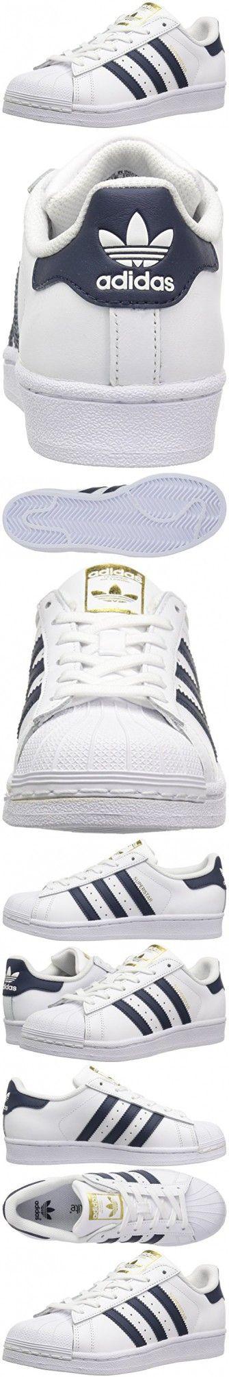 Adidas Originals Boys' Superstar Foundation J Sneaker, White/Collegiate Navy/Metallic/Gold, 5 M US Big Kid
